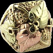 Vintage 10K and 12K Tri Color Gold Black Hills Large Grape Leaf Ring Size 10.25