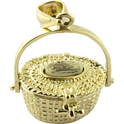 Vintage 14K Yellow Gold Movable Nantucket Basket Pendant with Scrimshaw Top