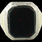 SALE Antique Victorian Men's 14K Gold Bezel Set Bloodstone Ring Size 9.25