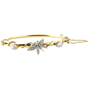 Vintage 14K Gold and Opal Hinged Bangle Bracelet with Diamond Butterfly, Size 6.75