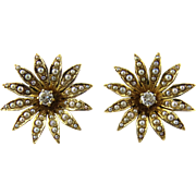 SALE Antique Victorian 14K Gold Seed Pearl Flower Blossom Diamond Earrings