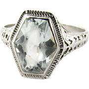 Vintage 14K White Gold Filigree Aquamarine Ring Size 6.75