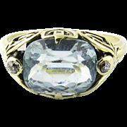 SALE Vintage 14K White Gold Blue Topaz Diamond Ring, Size 7