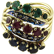 SALE Vintage 14K Yellow Gold 5 Band Emerald, Ruby, Sapphire and Diamond Ring With Flexible ...