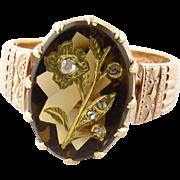 SALE Antique 18 Karat Rose Gold Victorian Ladies Ring with Diamonds Size 5.25