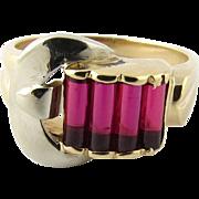 Retro 14 Karat Gold Ruby Buckle Ring
