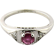 18 Karat White Gold Genuine Ruby Diamond Ring Size 5.5