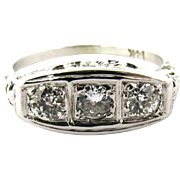 Vintage Art Deco 14 Karat Gold Old Mine Cut Diamond Ring