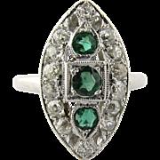 Antique Art Deco Marquise Shaped Platinum Diamond Emerald Dinner Ring, Size 5.75
