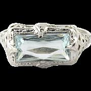 SALE Vintage 14K White Gold Filigree Rectangular Aquamarine Ring, Size 5.5