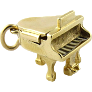 Vintage Wells 14K Yellow Gold Grand Piano 3D Charm