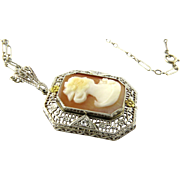 Antique Early Art Deco 14K White and Yellow Gold Filigree Cameo Pendant with Chain