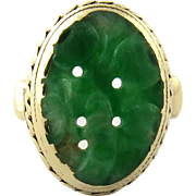 SALE Vintage 14K Yellow Gold Carved Oval Jade Ring, Size 3.5