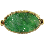 SALE Vintage 14K Yellow Gold Oval Brooch Pin With Carved Jade And Seed Pearls