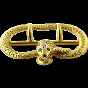 Antique Victorian 14K Yellow Gold Diamond and Emerald Snake Belt Sash Buckle