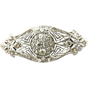 Antique Edwardian Era Platinum and 14K White Gold Diamond Brooch Pin, 3.25 CT TWT
