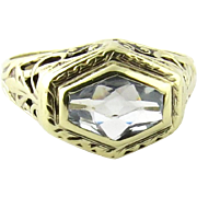Art Deco 14K White Gold Filigree Aquamarine Ring, Size 5