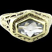 SALE Antique Art Deco 14K White Gold Filigree Aquamarine Ring, Size 5