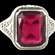 Vintage Art Deco Style Filigree 14K White Gold Ruby Ring, Size 5.25