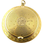 Antique 14K Yellow Gold Locket / Compact Snuff Box Pendant with Engine Turned Design