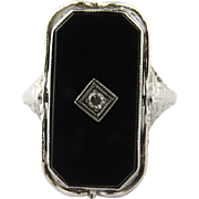 SALE Antique 14K White Gold Reversible Cameo Habille and Black Onyx with Diamond, Size 4.5