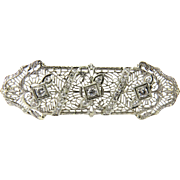 SALE Antique Art Deco 14K White Gold Diamond Filigree  Brooch Pin
