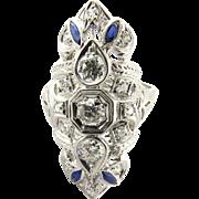 SALE Vintage Platinum Diamond and Sapphire Dinner Ring, Size 6.25