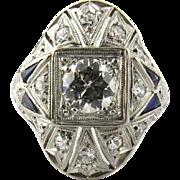 SALE Antique Art Deco Platinum Diamond and Sapphire Domed Ring, Size 3