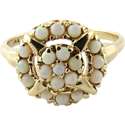SALE Vintage 14K Yellow Gold Opal Flower Center Ring, Size 7.5