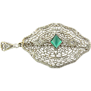 Vintage 14K White Gold Cabochon Emerald Green Glass Stone and Diamond Filigree Pendant / Brooc