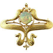 SALE Art Nouveau 14K Yellow Gold Cabochon Opal Pin / Pendant