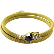 SALE Antique 18K Yellow Gold Flexible Coil Snake Bracelet with Rose Cut Diamonds, Sapphires an