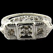 Antique 14K White Gold Filigree Diamond Ring Size 6.25