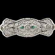 SALE Antique 14K White Gold Art Deco Diamond and Emerald Filigree Brooch Pin