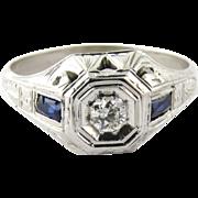 SALE Antique Men's Art Deco 18K White Gold Diamond and Sapphire Ring, 11.5