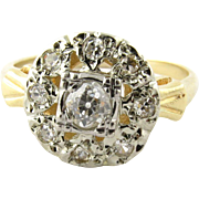 SALE Antique Edwardian Diamond Flower Top 14K White and Yellow Gold Ring, 3.5