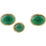 Vintage 14K Yellow Gold and Burmese Jade Oval Cufflinks and Tie Tack Pin