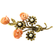Antique Victorian 14K Yellow Gold Carved Coral Roses and Pearl Flowers Brooch