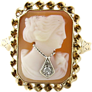 SALE Vintage 10K Yellow Gold Carved Cameo Diamond Ring, Size 7