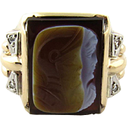 SALE Vintage 10K Yellow Gold Men's Cameo Roman Warrior Ring with Diamonds, Size 9.75
