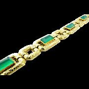 "SALE Vintage 18K Yellow Gold Green Onyx Etched Link Bracelet 7.25"""