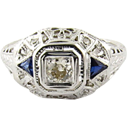14K White Gold Art Deco Diamond and Sapphire Filigree Dome Ring, Size 7.5
