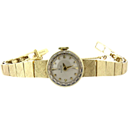 SALE Rolex Vintage Ladies 14K Yellow Gold Hand Winding Watch Silver Dial
