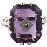 SALE Vintage 14K White Gold Amethyst and Diamond Filagree Ring Size 2.5