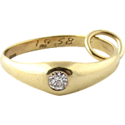 SALE Tiffany & Co 14K Yellow Gold and Diamond Engagement Ring Charm Pendant 1958