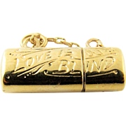 SALE Vintage 14K Yellow Gold Love is Blind Charm Pendant with Gold Miniature Glasses Inside
