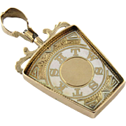 SALE Vintage 10K Yellow Gold and White Enamel Masonic Royal Arch Keystone FOB
