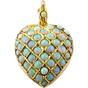 Antique Victorian 10K Yellow Gold and Pave Opal Heart Pendant / Locket