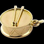 SALE Vintage 14K Yellow Gold 3D Drum Charm