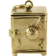 Vintage 14K Yellow Gold 3D Standing Safe Charm with Opening Door and Folded Silver Certificate